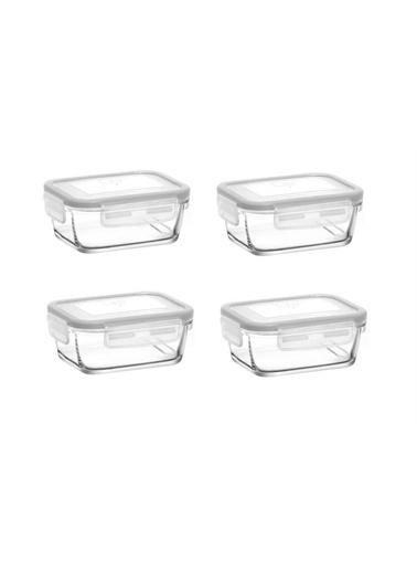 Lav Saklama Kabı 4 Lü Cam Kilitli Saklama Kabı Frs237 400Cc Beyaz Renkli